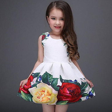 cheap Kids Collection Under $8.99-Kids Girls' Sweet Daily Holiday Floral Print Sleeveless Dress White