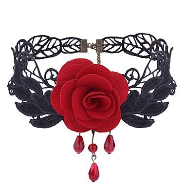 povoljno Modne ogrlice-Žene Sintetički ametist Choker oglice Cvijet dame Gotika slatko Moda Čipka Tkanina Legura Crn Crvena Ogrlice Jewelry 1 Za Dnevno Cosplay nošnje