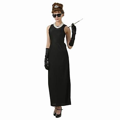 Audrey Hepburnová Vintage Elegantní Kostým Dámské Šaty Kostým na Večírek  Flapper Dress Černá Retro Cosplay Bavlna Krátký rukáv Košíček Po kotníky  6419858 ... bab72354ac6