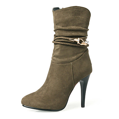Women's Shoes Nubuck leather Winter Fall Fashion Boots Bootie Boots Stiletto Heel Round Toe Booties/Ankle Boots Mid-Calf Boots Side-Draped