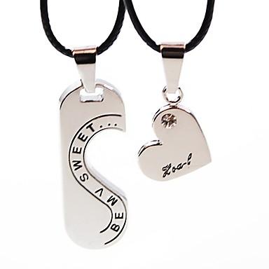 Για Ζευγάρια Κρεμαστά Κολιέ Ραγισμένη καρδιά Καρδιά Απλός Μοντέρνα Ανοξείδωτο Ατσάλι Δερμάτινο Ασημί Κολιέ Κοσμήματα 2pcs Για Δώρο Εξόδου
