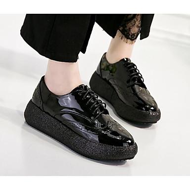 Mujer Zapatos Cuero de Napa Primavera / Otoño Confort Oxfords Media plataforma Blanco / Verde Pas Cher De Jeu unisexe e95xGIC