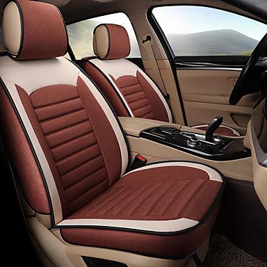 voordelige Auto-interieur accessoires-5 zitplaatsen vier seizoenen algemeen vlas autostoel volledige hoes voor vijf-stoel auto / airbag compatibiliteit / zoals familie auto, suv / koffie