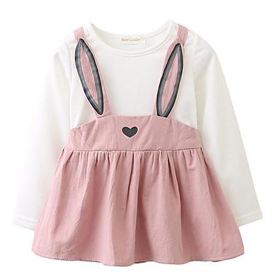 povoljno Odjeća za bebe-Dijete Djevojčice Jednostavan / Aktivan Ležerno / za svaki dan Jednobojni Print Dugih rukava Pamuk Haljina Blushing Pink / Slatko / Dijete koje je tek prohodalo