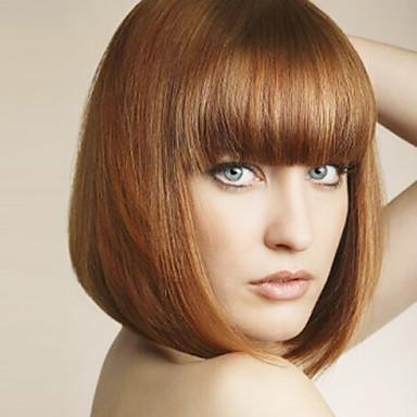 Συνθετικές Περούκες Ίσιο Ίσια Κούρεμα καρέ Με αφέλειες Περούκα Μεσαίο Ανοικτό Καφέ Συνθετικά μαλλιά Γυναικεία Με τα Μπουμπούκια Καφέ