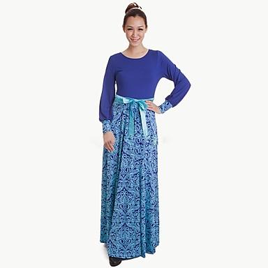 bb76bcaf41ea Etnico   Religioso Abito arabo Abaya Abito Kaftan Jalabiya Per donna  Vestiti Stile etnico Lungo Feste   vacanze Poliestere Completi Blu Fantasia  floreale ...
