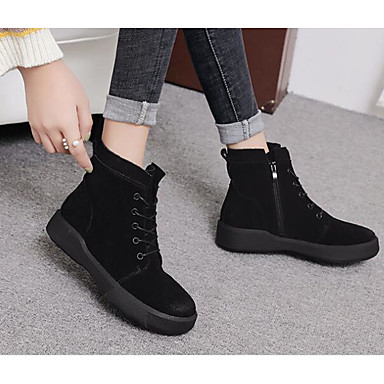 ce96f4cb4 Women's Shoes Nubuck leather Spring Fall Comfort Boots Walking Shoes Low  Heel Round Toe Booties/Ankle Boots Stitching Lace for Casual 6417936 2019 –  $49.99