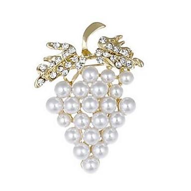 levne Dámské šperky-Dámské Brože Vínová dámy Ovoce Napodobenina perel Umělé diamanty Brož Šperky Zlatá Pro Svatební Denní Plesová maškaráda Zásnuby Maturitní ples Slib