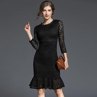 c14c56a8af9a6 Kadın's Dışarı Çıkma Günlük Sokak Şıklığı A Şekilli Dantel Elbise - Solid,  Dantel Diz-boyu Yüksek Bel 6432159 2019 – $93.71
