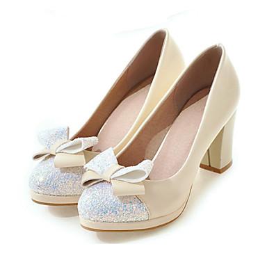 Mujer Zapatos Semicuero Otoño Confort / Innovador Tacones Tacón Cuadrado Dedo redondo Pajarita Blanco / Negro / Rosa / Fiesta y Noche MwAeC