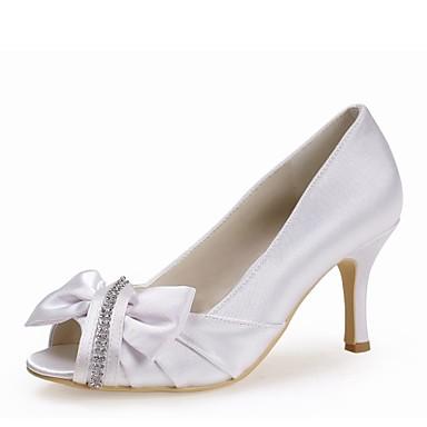 Mujer Zapatos Seda Primavera / Verano Pump Básico Zapatos de boda Tacón Stiletto Punta abierta Pedrería Blanco / Boda / Fiesta y Noche tS38CtPUPQ