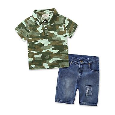 povoljno Odjeća za dječake-Dječaci Svečana odjeća Dungi Kolaž Other Kratkih rukava Regularna Normalne dužine Pamuk Traper Komplet odjeće Djetelina