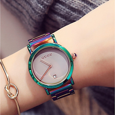 cheap Jewelry & Watches-Women's Ladies Wrist Watch Japanese Quartz Stainless Steel Green / Purple Water Resistant / Waterproof Calendar / date / day Chronograph Analog Casual Fashion Elegant Colorful Unique Creative - White