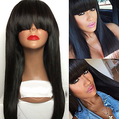 cheap Beauty & Hair-Human Hair Lace Front Wig With Bangs style Brazilian Hair Straight Wig 130% Density with Baby Hair 100% Virgin Unprocessed Women's Long Human Hair Lace Wig