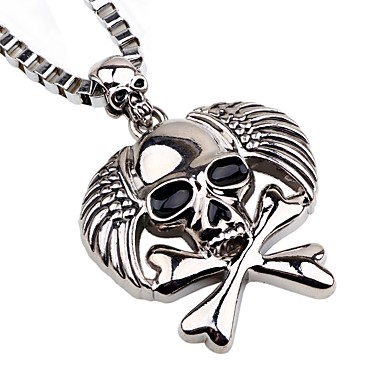 cheap Pendant Necklaces-Men's Pendant Necklace Chain Necklace Skull Pirates Gothic Fashion Satanic Alloy Silver Necklace Jewelry One-piece Suit For Holiday Going out