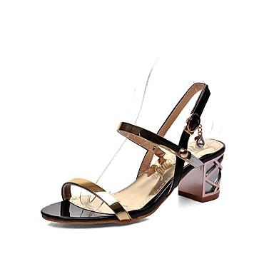 Mujer Zapatos Semicuero Primavera / Verano Confort Sandalias Tacón Cuadrado Puntera abierta Blanco / Negro / Sandalias de Tacón QdAkb