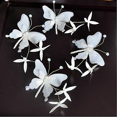 Ύφασμα Πιαστρακι ΜΑΛΛΙΩΝ με Σχέδιο Πεταλούδα 4pcs Γάμου / Ειδική Περίσταση Headpiece