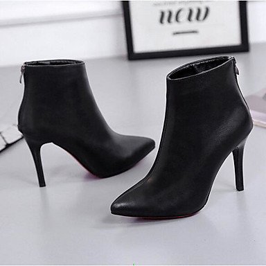 736743da38b3d Femme Chaussures Polyuréthane Printemps   Hiver Confort Bottes Talon  Aiguille Bout pointu   Bout fermé Bottine   Demi Botte Noir de 6441851 2019  à  19.99