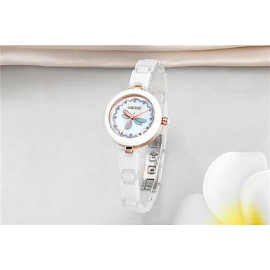 levne Pánské-Dámské Hodinky na běžné nošení Módní hodinky Náramkové hodinky Křemenný Keramika Bílá 30 m Voděodolné Analogové Třpyt Na běžné nošení Elegantní - Stříbrná Růžové zlato