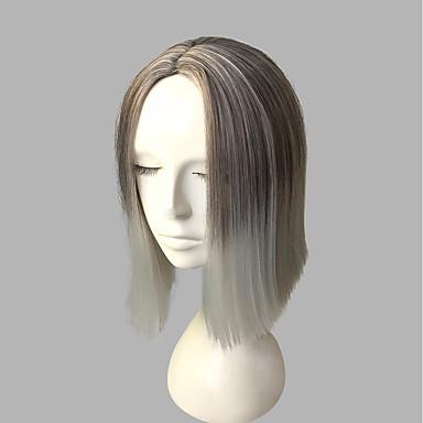 Συνθετικές Περούκες Κατσαρά Ίσια Κατσαρά Ίσια Κούρεμα με φιλάρισμα Περούκα Κοντό Γκρι Συνθετικά μαλλιά Γυναικεία Φυσική γραμμή των μαλλιών Γκρι