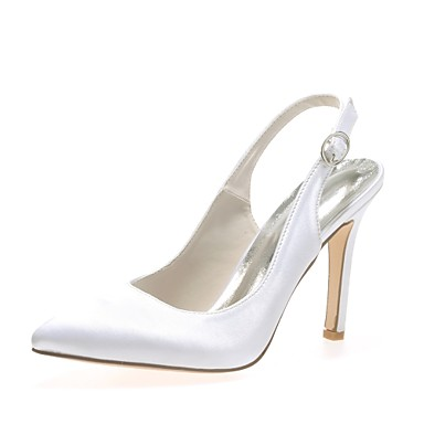 Mulheres Sapatos De Casamento Salto Agulha Dedo Apontado Presilha Cetim Plataforma Básica Primavera / Verão Azul / Champanhe / Ivory / Festas & Noite / EU42