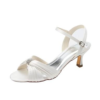 Γυναικεία Γαμήλια παπούτσια Χαμηλό τακούνι Ανοικτή μύτη Κρυσταλλάκια Ελαστικό ύφασμα Βασική Γόβα Καλοκαίρι Κρύσταλλο / Πάρτι & Βραδινή Έξοδος