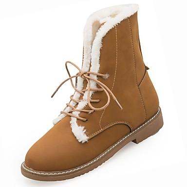Mujer Zapatos PU Otoño / Invierno Confort / Botas de Moda Botas Talón de bloque Dedo Puntiagudo Mitad de Gemelo Negro / Gris / Morrón xarQEKD4