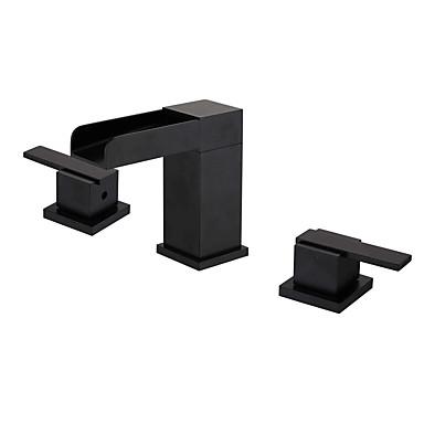 preiswerte Armaturen für das Badezimmer-Waschbecken Wasserhahn - Wasserfall / Verbreitete Öl-riebe Bronze 3-Loch-Armatur Zwei Griffe Drei LöcherBath Taps