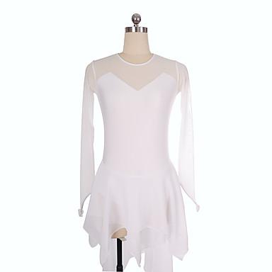 Φόρεμα για φιγούρες πατινάζ Γυναικεία Κοριτσίστικα Patinaj Φορέματα Λευκό Spandex Ανελαστικό Εκπαίδευση Ανταγωνισμός Ενδυμασία πατινάζ Μονόχρωμο Μακρυμάνικο Πατινάζ Πάγου Πατινάζ για φιγούρες