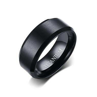 levne Pánské šperky-Pánské Band Ring Černá Titanová ocel Volframová ocel Circle Shape Jednoduchý Punk Módní Denní Formální Šperky Klasický styl Základní Svatba