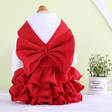 Σκύλος Φορέματα Ρούχα για σκύλους Μονόχρωμο Κόκκινο Βαμβάκι Στολές Για Άνοιξη & Χειμώνας Χειμώνας Ανδρικά Γυναικεία Καθημερινά