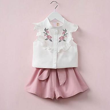 preiswerte Sommerkleidersets für Mädchen-Baby Mädchen Street Schick Chinoiserie Stickerei Ärmellos Kurz Baumwolle Kleidungs Set Grün