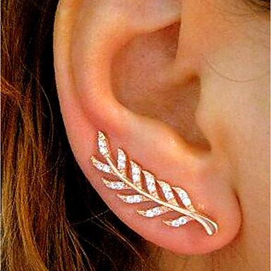 Γυναικεία Cubic Zirconia Κουμπωτά Σκουλαρίκια Ορειβάτες των αυτιών Σκουλαρίκια ορειβατών Leaf Shape κυρίες Απλός Βίντατζ Μοντέρνα Κομψό Bling Bling Σκουλαρίκια Κοσμήματα / 2pcs