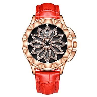 levne Dámské-Dámské Náramkové hodinky Diamond Watch japonština Křemenný Pravá kůže Černá / Bílá / Červená 50 m Voděodolné Chronograf S dutým gravírováním Analogové dámy Květina Módní Elegantní Vánoce - Šed