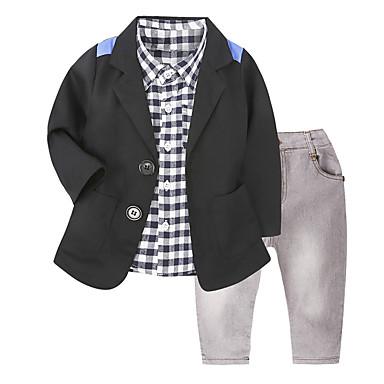 povoljno Odjeća za dječake-Dijete koje je tek prohodalo Dječaci Ležerne prilike Ulični šik Dnevno Škola Houndstooth Dugih rukava Regularna Normalne dužine Pamuk Komplet odjeće Crn