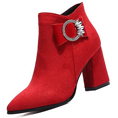 Pas Cher En Vente Manchester Mujer Zapatos PU Invierno Botas de Combate Botas Tacón Cuadrado Negro / Amarillo / Rojo Magasin De Jeu En Ligne 4n1ukyD0f