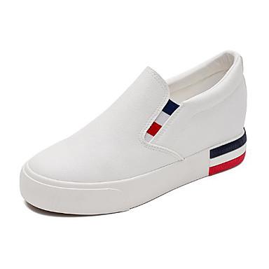 Mujer Zapatos Tejido Primavera / Otoño Confort Zapatos de taco bajo y Slip-On Tacón Plano Dedo redondo Blanco / Negro dgh5ahKD