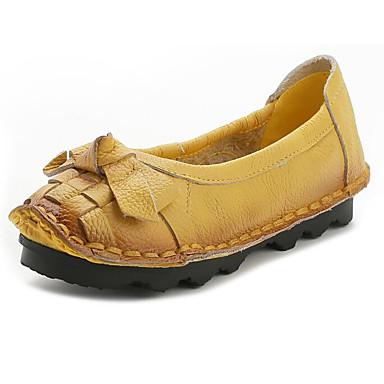 Mujer Zapatos Cuero de Napa Primavera verano Confort Zapatos de taco bajo y Slip-On Tacón Plano Negro / Amarillo Livraison Gratuite Prix Incroyable m3zXUlP5L6