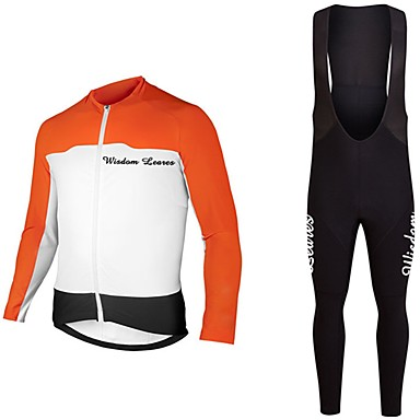 Wisdom Leaves Ανδρικά Γυναικεία Μακρυμάνικο Αθλητική φανέλα και κολάν ποδηλασίας Πορτοκαλί Σκούρο μπλε Συμπαγές Χρώμα Ποδήλατο Αθλητική μπλούζα Ρούχα σύνολα Αθλητισμός Πολυεστέρας Συμπαγές Χρώμα