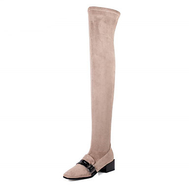f728e7391bc Women s Shoes Fleece Winter Fall Slouch Boots Boots Chunky Heel Round Toe  Over The Knee Boots Buckle for Casual Black Gray Brown 6452552 2019 –   149.99