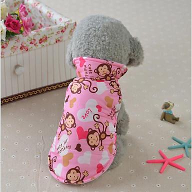 Gato Cachorro Casacos Colete Inverno Roupas para Cães Amarelo Azul Rosa claro Ocasiões Especiais Algodão Animal Estiloso Casual Mantenha Quente S M L