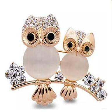 voordelige Dames Sieraden-Dames Broches Uil Dames Klassiek Opaal Gesimuleerde diamant Broche Sieraden Goud Voor Dagelijks Formeel