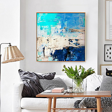 cheap Framed Arts-Framed Art Print Framed Canvas Prints Turquoise Blue Abstract Art Painting Canvas Wall Art