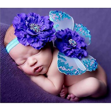 preiswerte Meist Verkaufte-Baby Mädchen Geburtstag Druck Ärmellos Kleidungs Set Blau / Niedlich