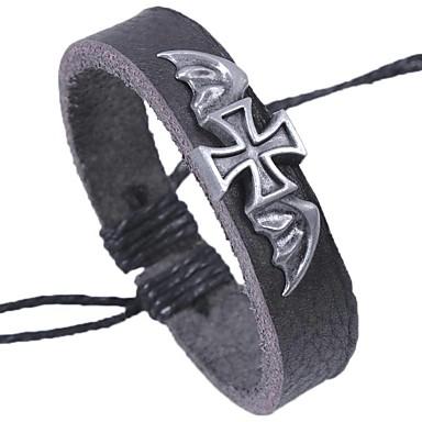 levne Pánské šperky-Pánské Kožené náramky Náramek Haç Rokové Gothic Kožené Náramek šperky Černá Pro Škola Rande