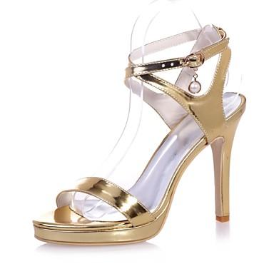 réal Mujer Zapatos Cuero Patentado Primavera / Verano Pump Básico Zapatos de boda Tacón Stiletto Punta abierta Dorado / Plateado / Azul / Boda Livraison Gratuite Offres 2018 En Ligne Jeu Le Plus Récent n4N0eFaayP