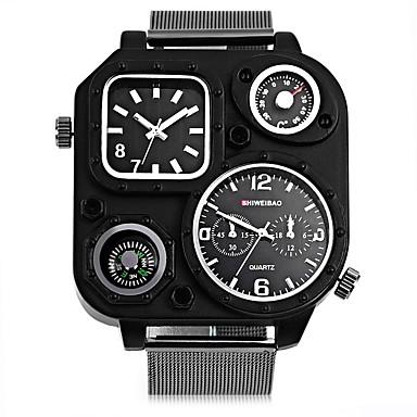 levne Pánské-SHI WEI BAO Pánské Sportovní hodinky Módní hodinky Vojenské hodinky Křemenný Velkoformátové Nerez Černá Kompas Hodinky s dvojitým časem Punk Analogové Na běžné nošení - Bílá Černá Jeden rok Životnost
