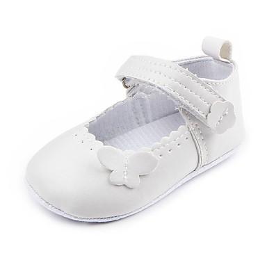 preiswerte Schuhe für Kinder-Mädchen Komfort / Lauflern / Kinderbett Schuhe Kunstleder Flache Schuhe Kleinkinder (0-9 m) Applikationen / Klettverschluss Weiß / Schwarz Frühling Sommer / Party & Festivität