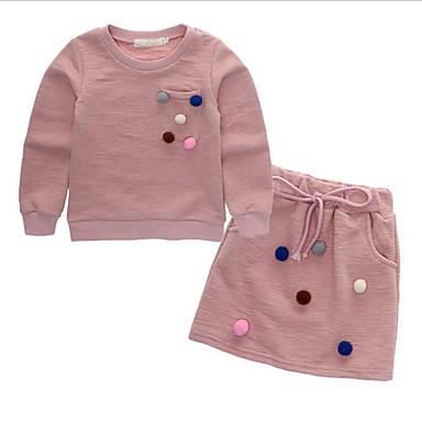 Νήπιο Κοριτσίστικα Κομψό στυλ street Πουά Μακρυμάνικο Κανονικό Βαμβάκι Σετ Ρούχων Ανθισμένο Ροζ