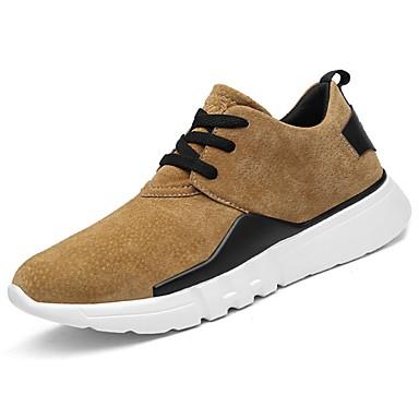 Hombre Zapatos Cuero de Cerdo Primavera / Otoño Confort Zapatillas de deporte Negro / Gris / Caqui 3B1hC2